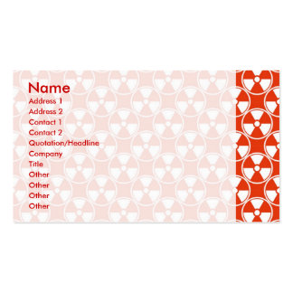 Radioactive pattern on red pack of standard business cards