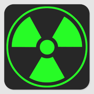 Radioactive Radiation Symbol green and black Square Sticker