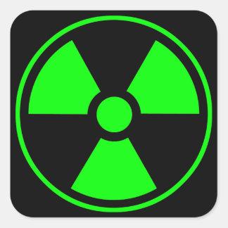 Radioactive Radiation Symbol green and black Square Sticker