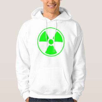 Radioactive Radiation Symbol green and white Hoodie