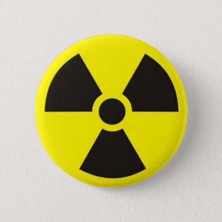 radioactive sign 6 cm round badge