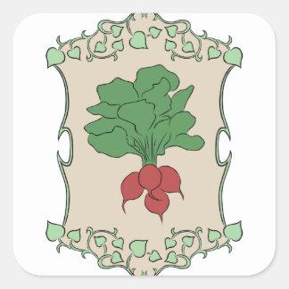 Radish Sign Square Sticker