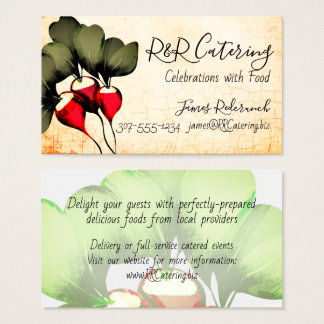 Radishes culinary chef catering business card