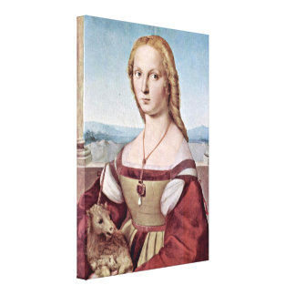 Raffael - Portrait of Young Woman with Unicorn Stretched Canvas Print