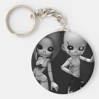 Rag Dolls Couple BW Key Chain