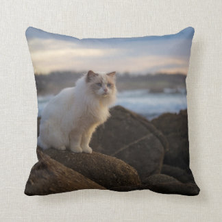 Ragdoll Cat At The Beach Cushion