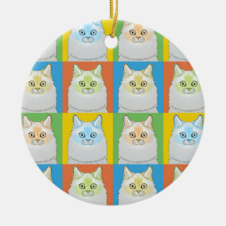 Ragdoll Cat Cartoon Pop-Art (Flame-Point) Ceramic Ornament