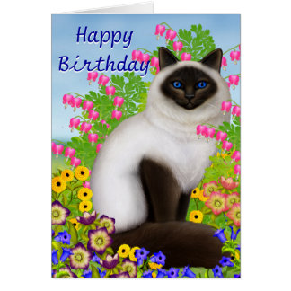 Ragdoll Cat in Garden Flowers Birthday Card