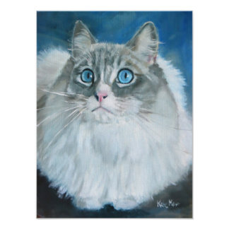 Ragdoll Cat Oil Painting by Kate Marr Poster