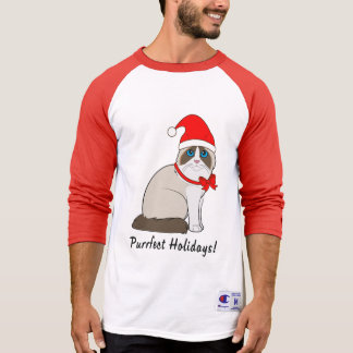 Ragdoll Cat with Santa Hat Purrfect Holidays! T-Shirt