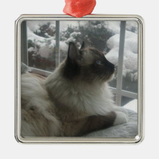 Ragdoll Himalayan Cat Christmas Snow Kitty Ornamen Metal Ornament