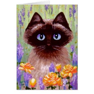 Ragdoll Siamese Burmese Cat Flowers Roses Art Card