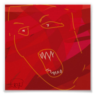 rage abstract red poster