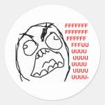 Rage Guy Angry Fuu Fuuu Rage Face Meme Round Sticker