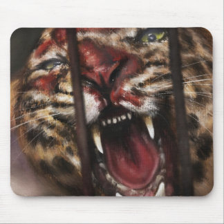 Rage in a Cage jaguar big cat painting art Mouse Pad