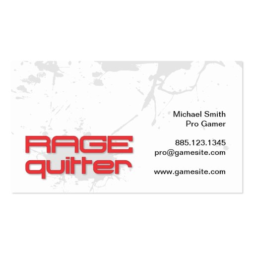 Rage Quitter Gamer Business Cards