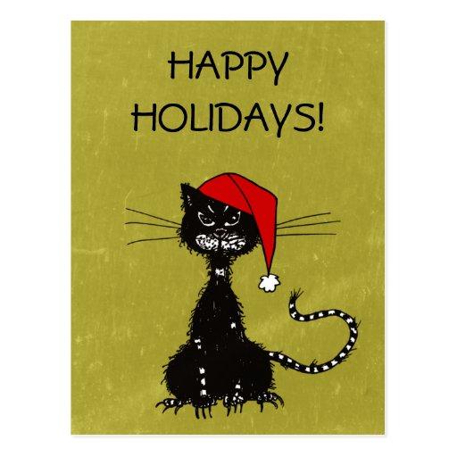 Ragged black cat Christmas Postcard