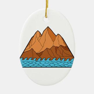 Ragged Mountain Waves Mono Line Ceramic Ornament