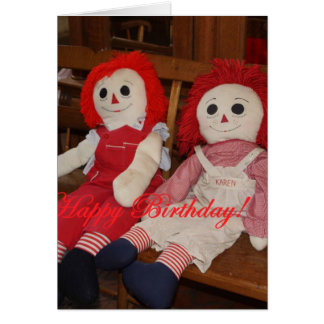 RAGGEDY ANN AND ANDY DOLLS BIRTHDAY CARD