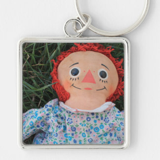 Raggedy Ann Doll 1 Silver-Colored Square Key Ring