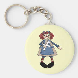 Raggedy January Basic Round Button Key Ring