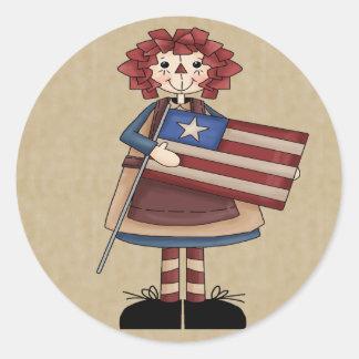 Raggedy July Classic Round Sticker