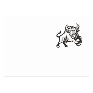 Raging Bull Attacking Charging Woodcut Business Cards