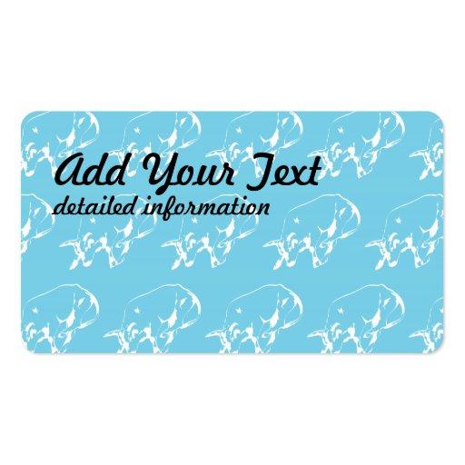 Raging Bull Blue White Business Card Template