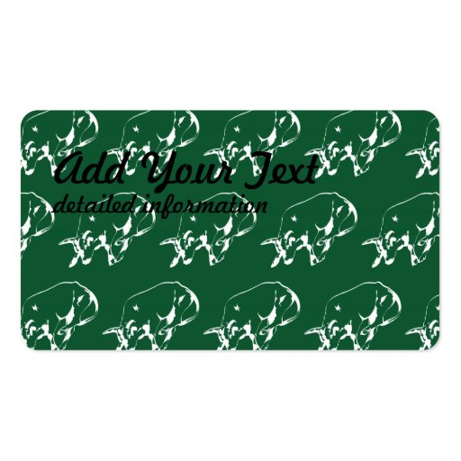 Raging Bull Green White Business Card Template
