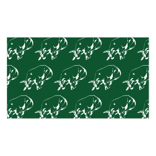 Raging Bull Green White Business Card Template