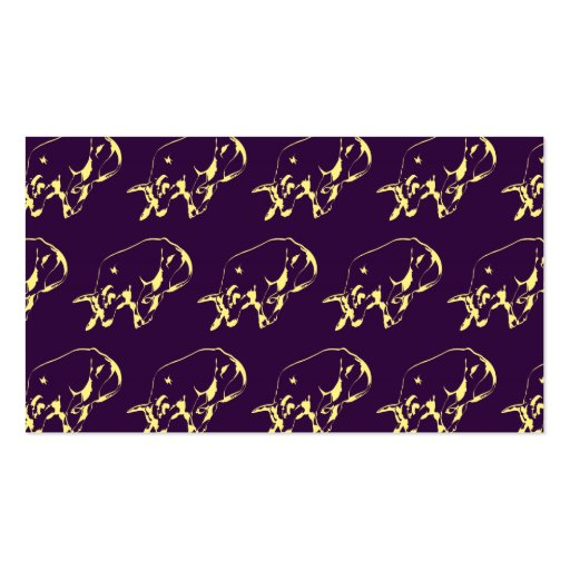 Raging Bull Yellow Purple Business Card Template