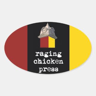 Raging Chicken Press Oval Tri-Color Sticker