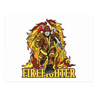Raging Flames Firefighter Post Cards