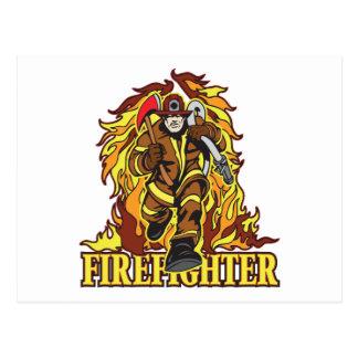 Raging Flames Firefighter Postcard