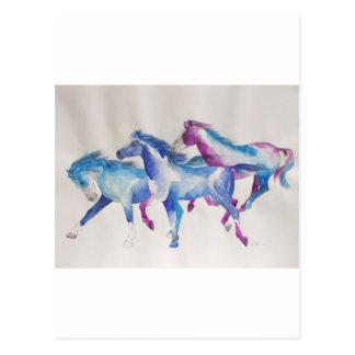 Raging Mustangs in Pastel Post Card