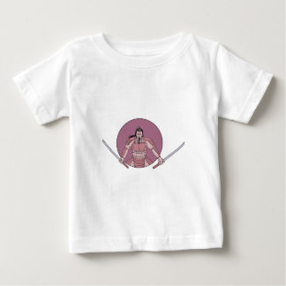 Raging Samurai Warrior Two Swords Oval Drawing Baby T-Shirt