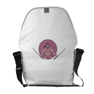 Raging Samurai Warrior Two Swords Oval Drawing Commuter Bags