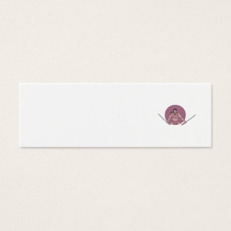 Raging Samurai Warrior Two Swords Oval Drawing Mini Business Card