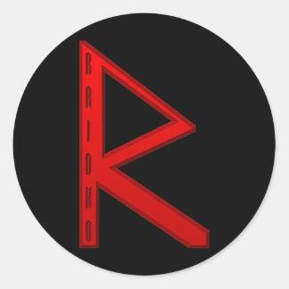 Raidho Rune red Classic Round Sticker