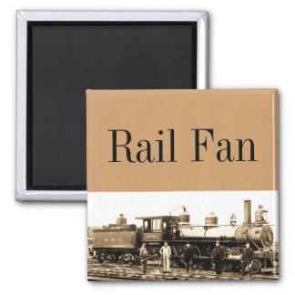 Rail Fan feat. B&O Locomotive Vintage Square Magnet