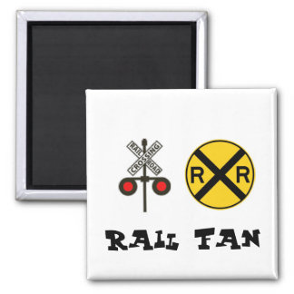 Rail Fan with Crossing Signs Square Magnet