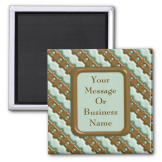 Rail Fence - Chocolate Mint Square Magnet