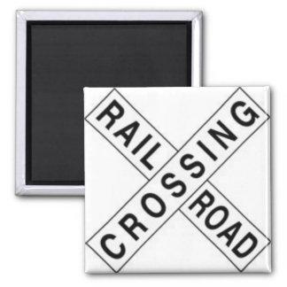 RAIL ROAD CROSSING SQUARE MAGNET