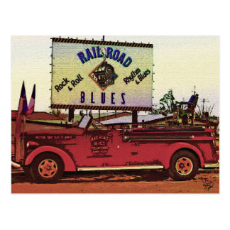 Railroad Blues Fire Truck, Alpine, TX Postcard