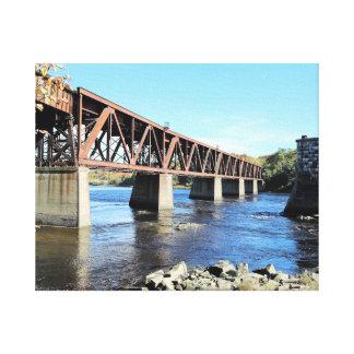Railroad Bridge Over Kennebec River Augusta Maine Canvas Print