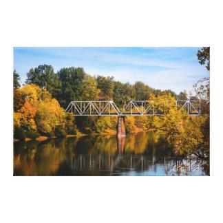 Railroad Bridge Over River Canvas Print