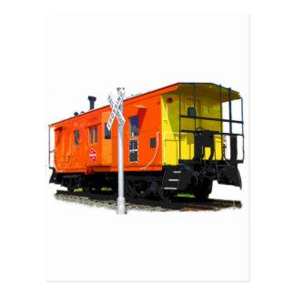 Railroad Caboose & Crossbuck Postcard
