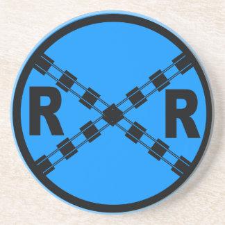 Railroad Crossing Highway Road Sign Beverage Coaster