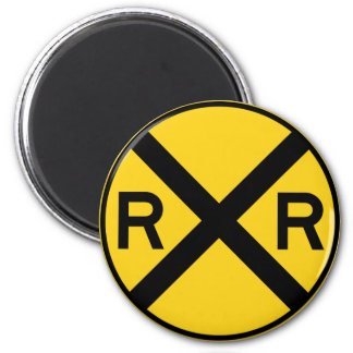 Railroad Crossing Highway Sign 6 Cm Round Magnet