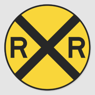 Railroad Crossing Highway Sign Classic Round Sticker